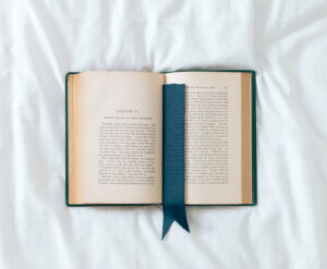book with a blue bookmark