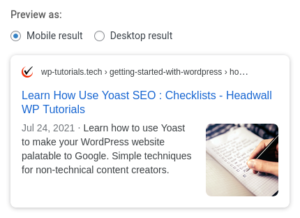 Yoast search result preview