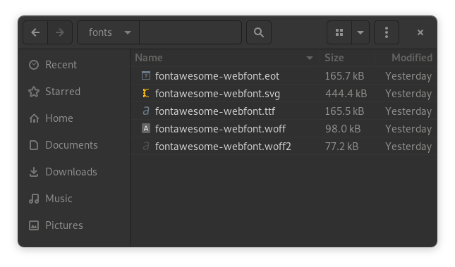 Self-hosted Font Awesome fonts folder